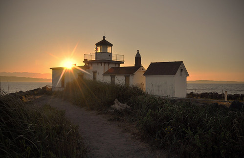 lighthouse with flare