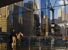 One World Trade Center - Freedom Tower - under construction (anadelmann) Tags: nyc newyorkcity light people usa ny newyork architecture canon construction crane manhattan worldtradecenter watching f100 powershot wintergarden constructionsite worldfinancialcenter canonpowershot freedomtower v1000 g9 canonpowershotg9 oneworldtradecenter anadelmann