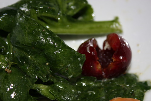 Salad with cherries and awesome sauce.