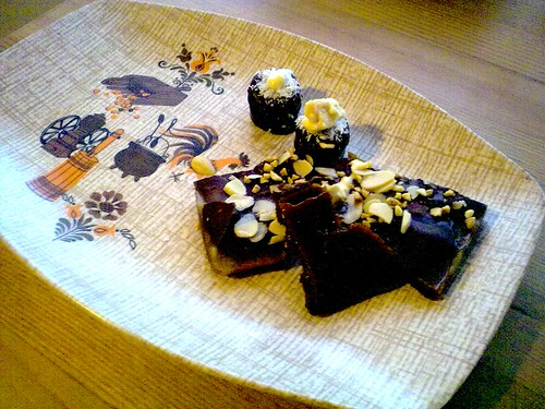 homemade chocolate toffee with my new vintage plate