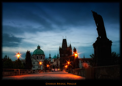 Charles Bridge Sunrise, Prague (szeke) Tags: city urban statue night sunrise nightlights prague praha praga czechrepublic charlesbridge karlvmost eskrepublika nikcolorefex imagenomic karlvmost overtheexcellence rubyphotographer qualitypixels eskrepublika daarklands