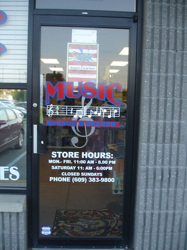 The door outside of Music Boutique in Northfield, NJ