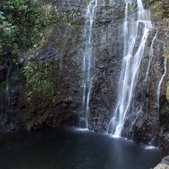 The base of the towering Wailua Falls in East Maui.