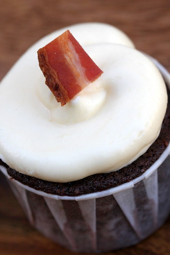 chocolate, toffee, bacon cupcake