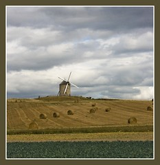 Windmill (pixiepic's) Tags: sky holiday france windmill clouds hay haybales beauvoir otw platinumheartaward
