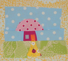 Toadstool house for Becca (sparklygreenknickers) Tags: quilt toadstool quiltblock wonkyhouse quiltingbee beeaddicted3
