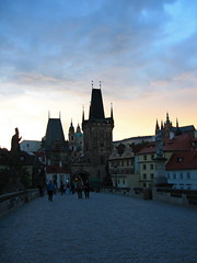 Charles Bridge, Prague (Mike G. K.) Tags: sunset castle church clouds prague spires towers silhouettes statues czechrepublic mikegk:gettyimages=submitted