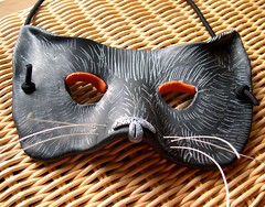 Black Cat Mask (juliespace) Tags: black halloween cat mask handmade polymerclay etsy pcagoe