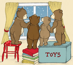 Wish upon a Star (bumpkinbears) Tags: family baby cute illustration woodland stars teddy bears cottage books nostalgic decor whimsical skyblue toybox childrensart outthewindow childrensroom pileofbooks redpolkadots wishuponastar nurseryart forestcritters