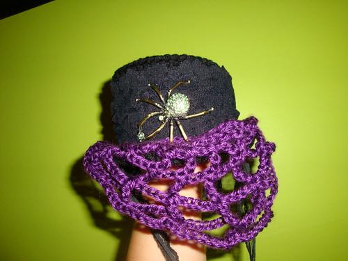 Crochet Mini Top Hat with web veil