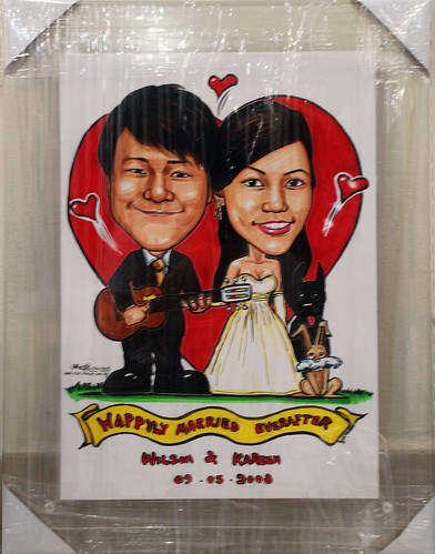 wedding couple caricatures in acrylic frame