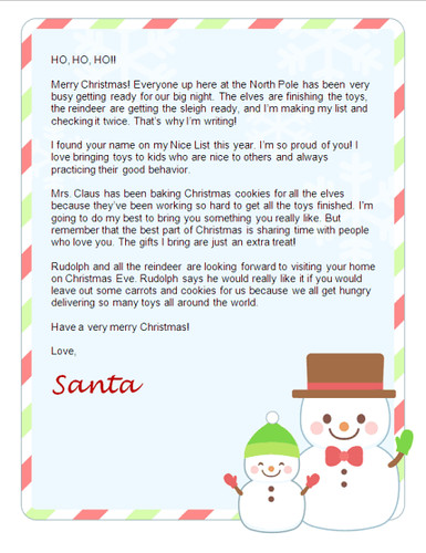 Free Christmas Letter From Santa Free Santa Letters Net