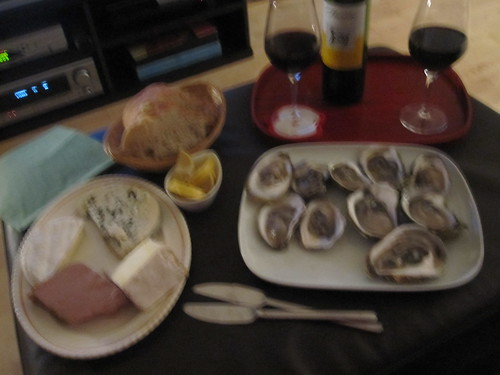 paté, cheeses, bread, oysters, wine