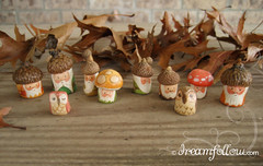 NOMs 400-408 (merwinglittle dear) Tags: autumn fall mushroom gnome little mini acorn clay owl dear figures nom