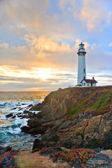 A California Sunset - Pigeon Point Lighthouse (Darvin Atkeson) Tags: ocean california park light sunset portrait usa lighthouse beach america reflections lens point us surf state pacific pigeon wave beaches fresnel  beams    darvin   atkeson  darv   liquidmoonlightcom
