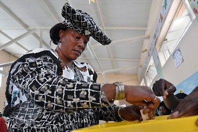 Namibian woman voter casting her ballot for the national elections held in late November 2009. The ruling SWAPO party has won an overwhelming victory in the poll. SWAPO led the country to independence in 1990 after a thirty year struggle for freedom. by Pan-African News Wire File Photos