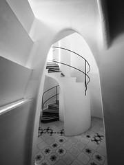 curved space (piglicker) Tags: barcelona loft spain arch gaudi catalunya casabattlo spiralstaircase 7mm olympuse3