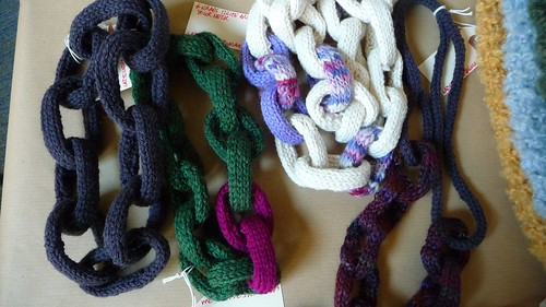 Cabled knit necklaces