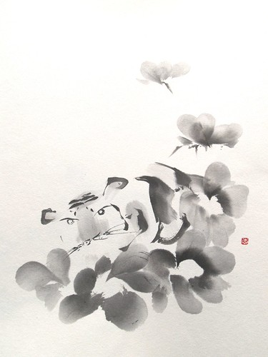 年賀状 虎 水墨画