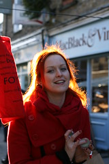 Street markets at winter (series) (Che-burashka) Tags: street winter red portrait urban cold london girl smile bag happy ginger hands market candid markets streetphotography manicure marketplace backlit hackney optimism youngwoman theguardian foyles vaseline broadwaymarket warmglow streetmarkets portraitorientation cheburashkaekaterinanosenkodecjanassignment moodlifiting