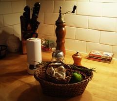 garlic & lime (omoo) Tags: newyorkcity houses kitchen interiors apartments counter westvillage knives matches furnishings subwaytile peppermills citykitchen greenwichvilage butcherblockcounter nestofbaskets garliclime