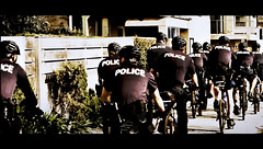 LAPD (Bosquet) Tags: blue light vacation black bike bicycle digital photography la photo losangeles nikon uniform cops image many santamonica candid police bikes cop processing boardwalk biker vests dslr santamonicapier santamonicabeach cinematic effect postproduction coppers helmets lapd d80 nikond80
