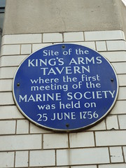 Photo of Marine Society, King's Arms Tavern, London, and Jonas Hanway blue plaque