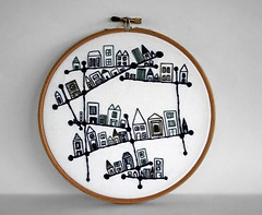 Blue and White Embroidered Constellation City Embroidery Hoop Art (sarah_hennessey) Tags: geometric architecture geometry embroidery wallart fiberart embroidered sewingthread embroideryhoop hoopart architecttural