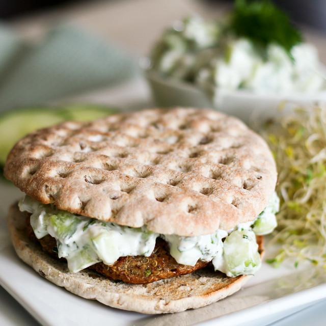 Quinoa Burger and Tzatziki Sauce The Healthy Foodie