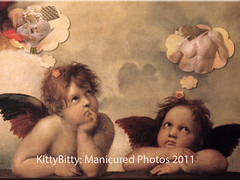Cherubini Daydream (KittyBitty: Manicured Photos) Tags: photoshop painting kitty cherub parody raphael daydream raffaello bitty cherubini famouspainting kittybitty1 kittybitty