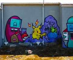 I Found You (Steve Taylor (Photography)) Tags: art cartoon graffiti mural streetart colourful fun newzealand nz southisland canterbury christchurch cbd city sunny sunshine crew dtr go ikarus pokémon pokemon gopokemongo