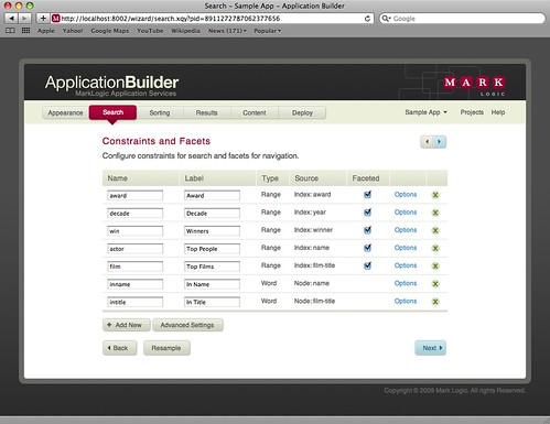 App Builder screen shot, Search page