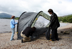 Erecting the Tent (chrisnicolson) Tags: bbq tent barbeque shelter lochlomond millarochy