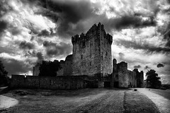 Ross Castle #1 (Pockets1) Tags: old ireland bw jason castle water clouds canon eos town interestingness highcontrast kerry explore 1785mm interstingness top500 rosscastle explored 40d pockets1 jasontown