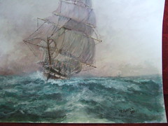 DSCF3647 (vindyboy50) Tags: sea storm ice water painting boats war paint power wind smoke ships lifeboat sail watercolour powerful merchant bombed underway ensign royalnavy redduster