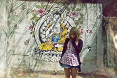 (yyellowbird) Tags: california selfportrait girl wall lights la mural buddha cari topangacanyon