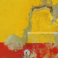 """SMA wall detail #63 / """"she is here"""" (msdonnalee) Tags: abstract muro yellow wall jaune pared architecturaldetail  explore amarillo gelb giallo adobe mura mur abstrato parede mauer abstrakt abstrait   walldetail  mexicanwall donnacleveland photosbydonnacleveland murodemxico"""