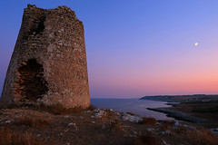 Defending the Kingdom, Torre San Emiliano (Giovanni Gori) Tags: trip travel sunset sea vacation sky italy panorama costa moon holiday tower sunrise landscape geotagged dawn coast landscapes nikon scenery rocks mediterranean mediterraneo italia tramonto mare torre luna scenario acqua otranto geotag viaggio salento puglia vacanza paesaggio adriatic adriatico portobadisco d700 sanemiliano overtheexcellence concordians nikkor2470mmf28g rubyphotographer artofimages platinumbestshot giovannigori