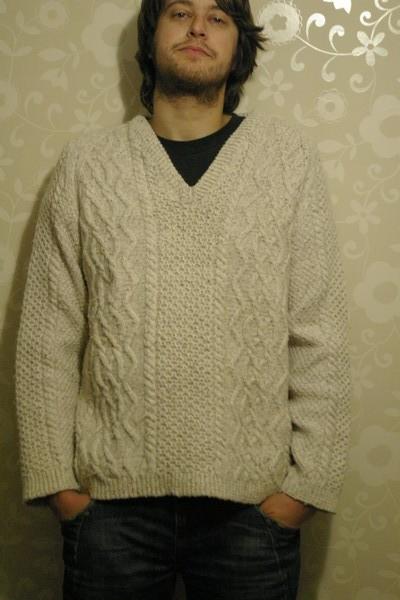 мужской свитер толстой вязки размер: L состав: предположительно 100...
