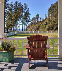 Found Serenity at the Heceta Head Lighthouse Bed & Breakfast (Fort Photo) Tags: morning light lighthouse nature oregon forest landscape coast chair nikon shadows or bluesky lane serenity porch serene bedandbreakfast 2009 d300 lanecounty hecetahead hecetaheadlighthouse