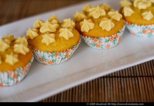 Saffron, Lemon & Coconut Cupcakes With Saffron & Lemon Buttercream Frosting