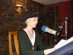 Hannah reading through her script prior to recording