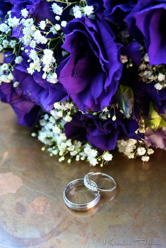 Wedding Bands and Bouquet The most common ring photograph includes the rings