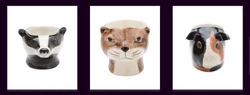 Quail animal egg cups Badger Otter Guinea Pig