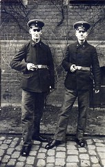 A pair of young Landsturmmnner from the 14th Infanterie Brigade ( drakegoodman ) Tags: portrait postcard worldwarone soldiers ww1 greatwar firstworldwar worldwar1 prussian germanarmy germansoldiers rppc infantrymen landsturm schirmmtze feldpost troddel