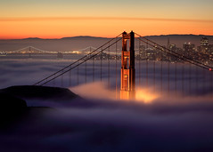 Sunday Morning #1:  5:47am (Rob Kroenert) Tags: sanfrancisco california city morning bridge usa tower fog sunrise dawn golden bay gate san francisco long exposure downtown pyramid marin sunday goldengatebridge baybridge headlands transamerica coit marinheadlands