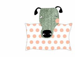 the Dog & the Pillow (dog&pillow) Tags: dog co illustration pillow ilustrao almofada dogpillow deboraarnedo