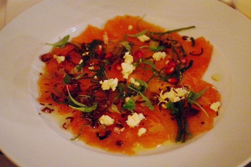 Salmon ceviche, pomegranate, coriander, ginger & soy