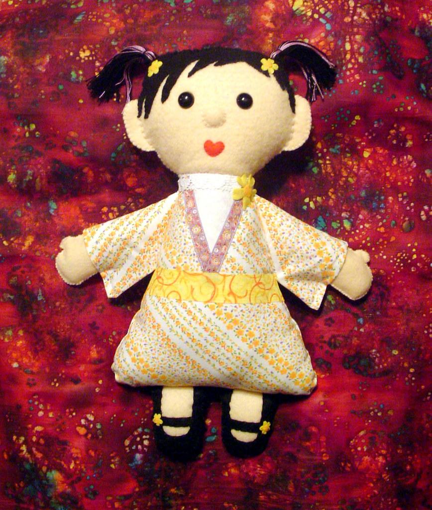 "Kimono Kids Doll Made from Felt and Fabric ""Emiko"""