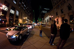 Broad Street in Philadelphia (drc151) Tags: urban philadelphia night nikon fisheye philly crosswalk 8mm broadstreet d90 samyang